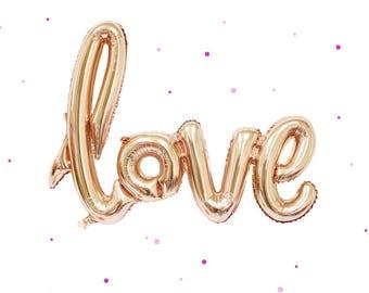 """30"""" ballon Rose or LOVE - Love Script ballon, ballon mariage, ballon bannière, partie de Bachelorette, décorations de mariage, décor de fête de poule"""