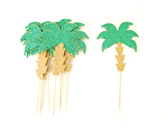 Palm Tree Cupcake Toppers - Tropical Cupcake Topper, Summer Cupcake Toppers, Summer Birthday, Tropical Party, Beach Party
