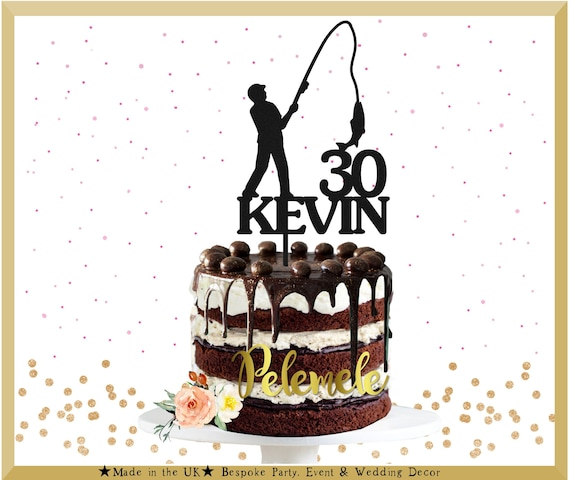 Remarkable Glitter Fishing Birthday Cake Topper Fishing Cake Topper Etsy Funny Birthday Cards Online Elaedamsfinfo