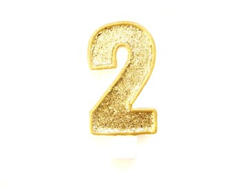 Giant Gold Glitter Number 2 Birthday Candle - birthday, glitter birthday candle, second birthday candle, custom number candle