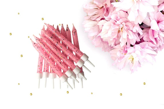Pink Glitter Birthday Candles Candle Girls