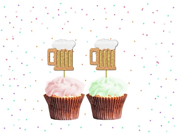 Bier Glas Kuchen Deckel Glitter Cupcake Topper, Bier Kuchendeckel, Geburtstagsfeier, Geburtstag Kuchen Deckel
