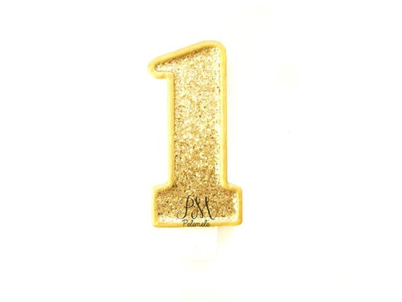 Giant Gold Glitter Number 1 Birthday Candle