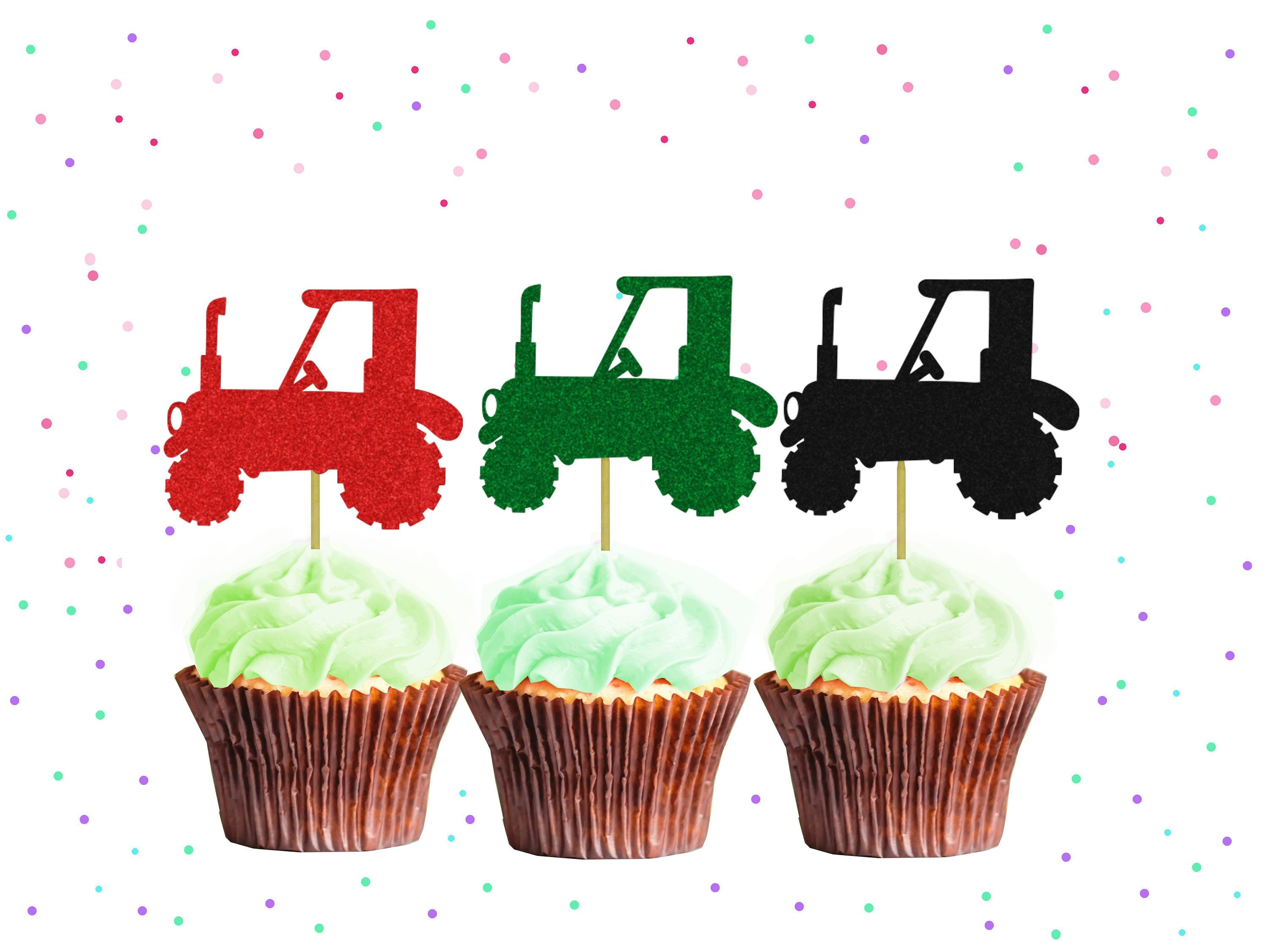 Tractor Cupcake Toppers 1st Birthday