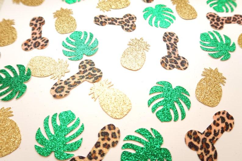 Palm Leaf Confetti Leopard Hen Do Confetti Tropical Penis Confetti Wild Bachelorette Party Leopard Bachelorette Party Penis Confetti