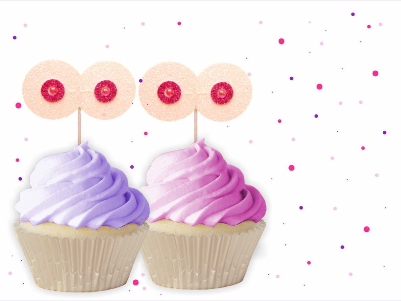 Glitter Boob Cupcake Toppers Boob Toppers Hen Party Cupcake Etsy