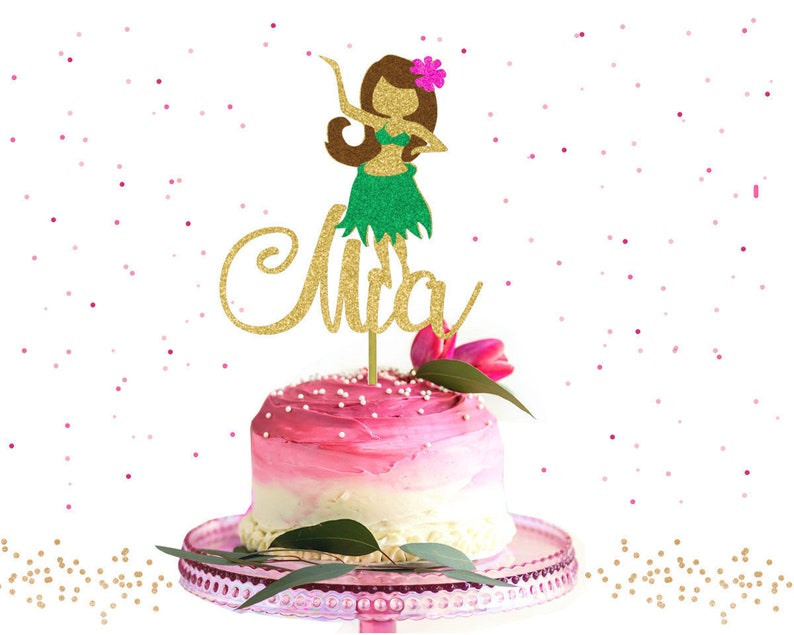 Custom Hula Girl Cake Topper Tropical Luau
