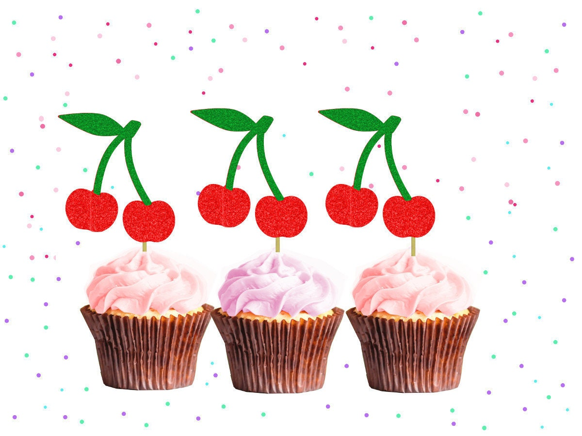 Glitter Cherry Cupcake Toppers Berry Party Berry Birthday