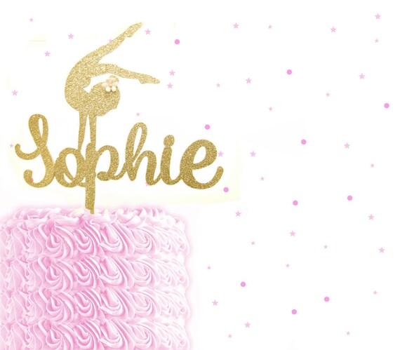 Glitter Gymnastics Name Cake Topper Custom Birthday