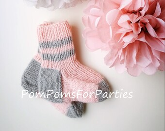 Pink Grey organic Wool Socks for Baby Girl - 100% ecological Scandinavian high quality wool - warm soft lovely colors - many sizes available