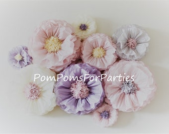 Huge paper flowers etsy oversized paper flowers 6 units ash pinkash lilacivory vintage party centerpiece rustic boho wall decor breathtaking blooms mightylinksfo