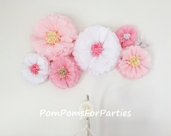 Huge paper flowers etsy oversized silk paper flowers 6 units mixed sizes flower backdrop wall nursery centerpiece romantic wall decor wedding decorations mightylinksfo