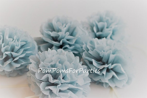 5 Units Ash Blue Small Size Silk Paper Pom Pom 65 Hanging