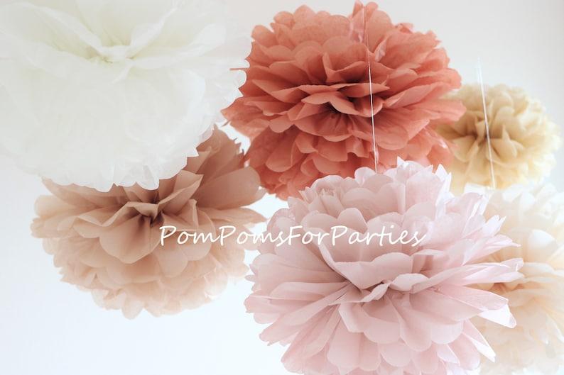 Set Of 30 Units Large Size 14 Tissue Paper Pom Poms Nude Colors Ash Pink Terracota Tan Parchment Birch