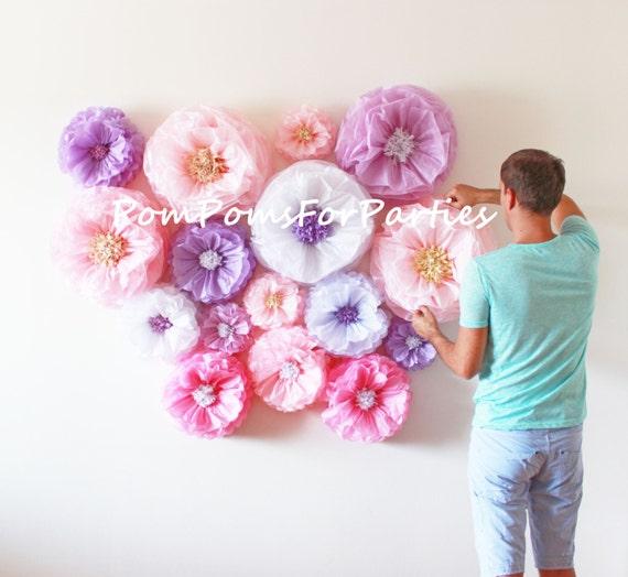 Oversized paper flowers 13 units flower backdrop wall etsy image 0 mightylinksfo