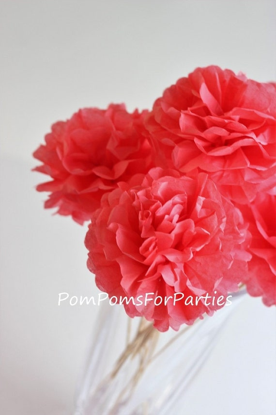 Small silk paper flowers 10 units coral unique table mightylinksfo