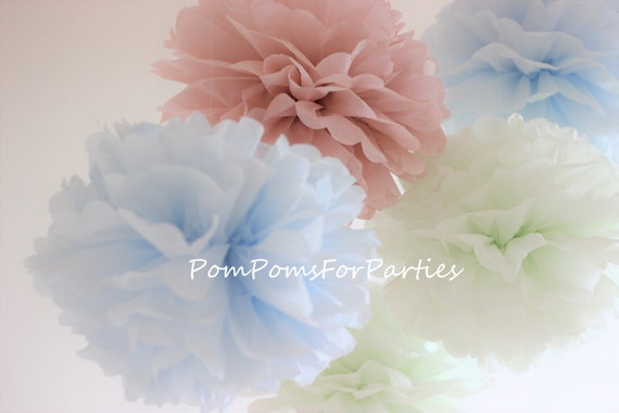 Outstanding 9 Medium Size Tissue Paper Pom Poms Ash Pink Ice Blue Mint Home Interior And Landscaping Ologienasavecom