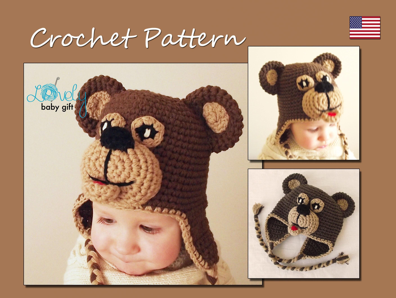 Crochet Pattern Bear Earflap Hat Crochet Hat Pattern Etsy