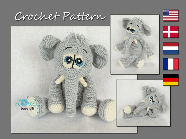 Elephant Crochet Pattern Amigurumi Elephant Stuffed Elephant Etsy