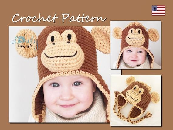 Crochet Hat Pattern Winter Hat Monkey Hat Crochet Pattern Etsy