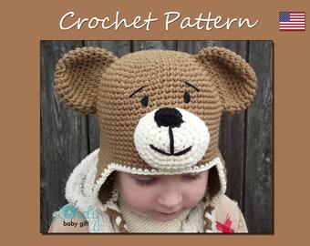 Crochet Earflap Hat Pattern, Teddy Bear Hat Crochet Pattern, Crochet Animal Hat, CP-304