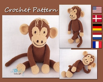 Amigurumi Pattern Crochet, Crochet Monkey Pattern, Amigurumi Monkey, Animal Crochet Pattern, CP-113