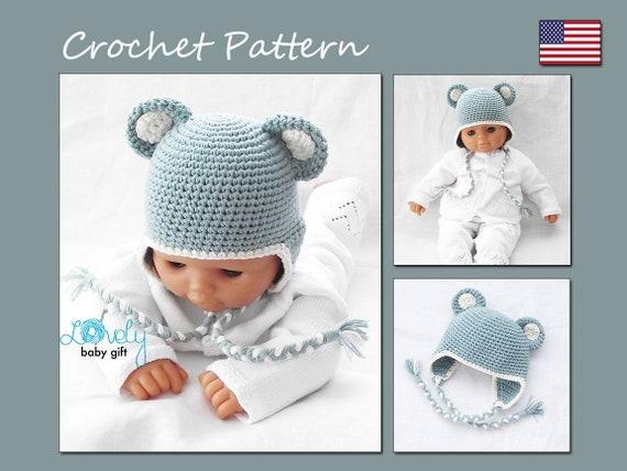 Crochet Bear Hat Pattern Teddy Bear Earflap Winter Hat Baby Etsy
