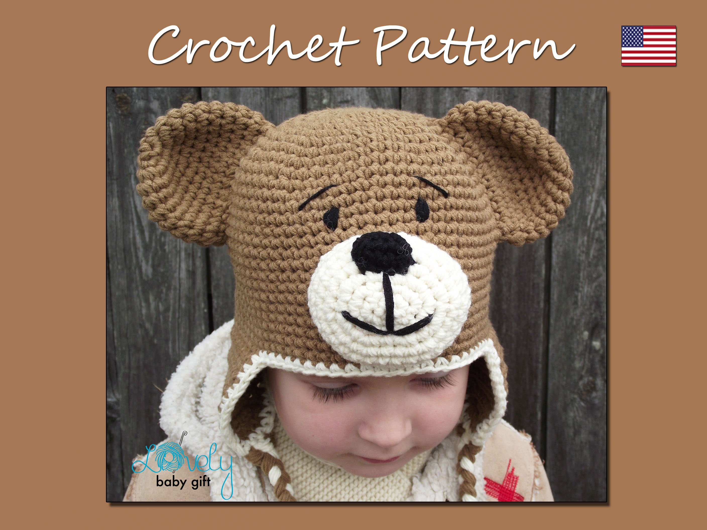 Earflap Teddy Bear Hat Crochet Pattern Toddler Hat Baby Etsy