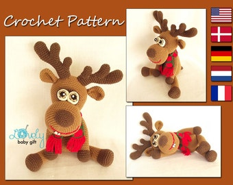 CROCHET PATTERN - Deer, Amigurumi Deer Pattern, Christmas Deer, Animal Crochet Pattern, Reindeer, CP-134