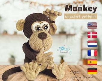 Amigurumi Pattern, Monkey Crochet Pattern, Amigurumi Animal, CP-147