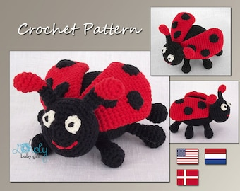 Crochet Pattern, Amigurumi, Red Ladybug, Ladybird, Crochet Toy Pattern, Stuffed Animal Pattern, CP-115