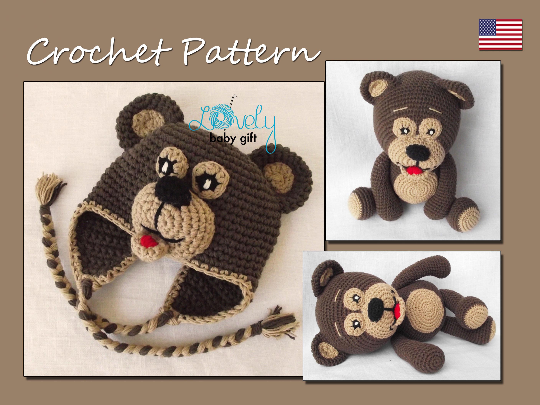 Set of Crochet Patterns, Amigurumi, Bear Crochet Pattern, Bear Hat ...