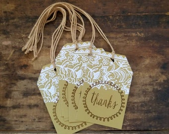 Rustic Elegance Hang Tag White Lace print Thanks Gift tags DIY Craft Supply set of 25 tags pre strung