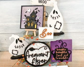 Haunted house and witch tiered tray decor - cauldron sign - ghost sign - double double toil and trouble mini sign - Halloween decor