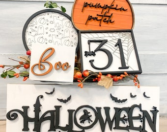 Tiered tray- Halloween theme - Boo - ghost background - framed pumpkin- shiplap- pumpkin patch -mini sign - 3D sign -
