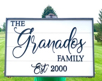 Personalized name sign - wedding gift- farmhouse sign - last name sign - established sign - wedding gift - family sign  24x36