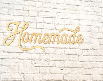 """Homemade sign - wood word laser cutout  24"""" x 9"""" homemade cursive word- READY TO SHIP"""