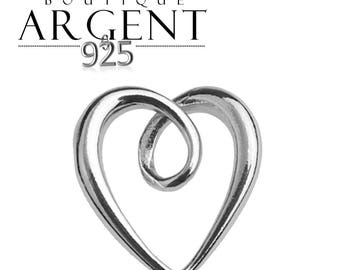 Charm heart 11.3 x 10.4 mm Sterling Silver 925 ring