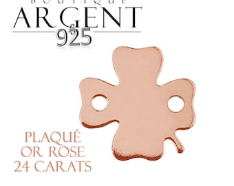 Charm 11.1 mm sterling silver plated rose gold 925 clover with two holes