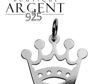 Crown charm in Silver 925 16.8 X 15.7 mm for necklace or earrings