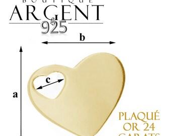 Pendentif en argent massif 925 plqué or de 17,6 X1 5,7 mm en forme coeur avec trou coeur