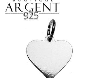Silver charm heart 15.5 X 11.4 mm with ring