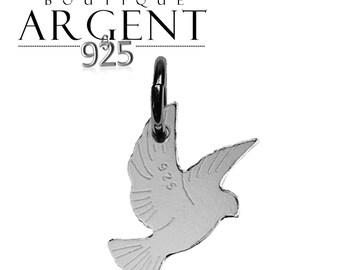 17.6 X 11.7 mm - silver charm 925 Silver Dove pendant-