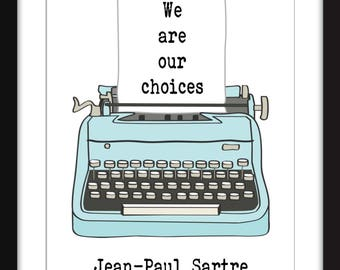 Jean Paul Sartre Freedom Quote Unframed Print Etsy