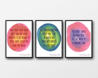 Set of 3 Unframed Nietzsche Dancing Quotes