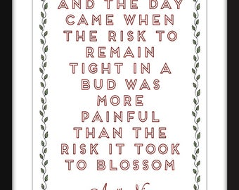 "Anais Nin ""Risk"" Quote Unframed Print"