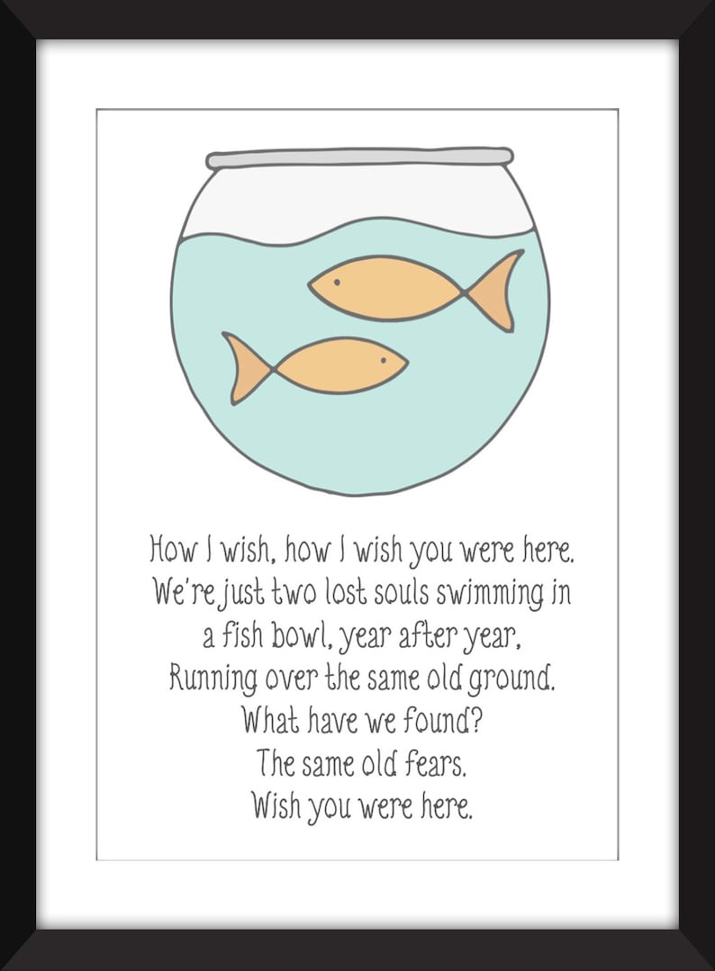 Pink Floyd Wish You Were Here Lyrics - Unframed Print - Ideal For Child's  Bedroom