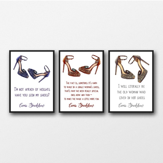 Set Von 3 Ungerahmt Carrie Bradshaw Shoe Zitate
