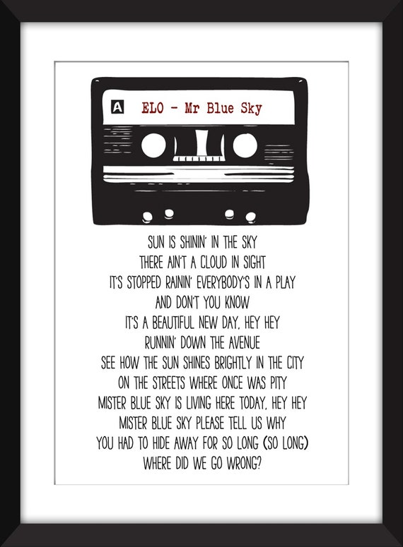 ELO - Mr Blue Sky Lyrics - Unframed Print