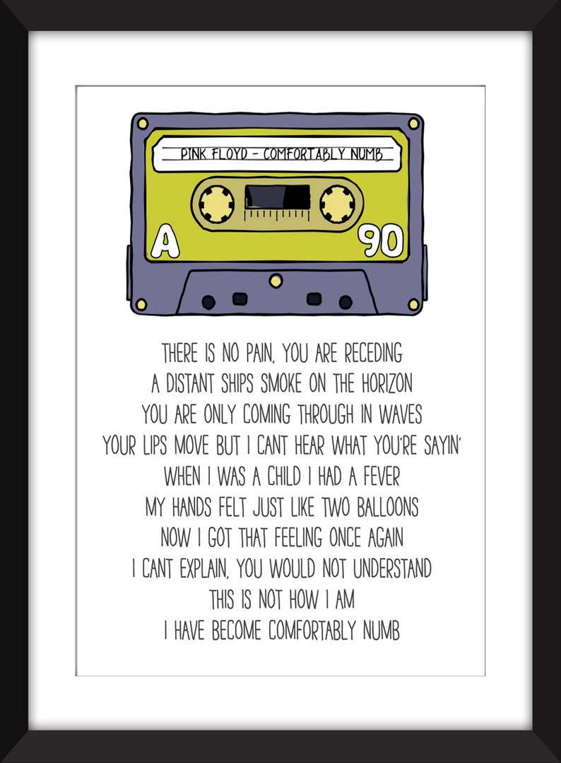 Pink Floyd - Comfortably Numb Lyrics - Unframed Print